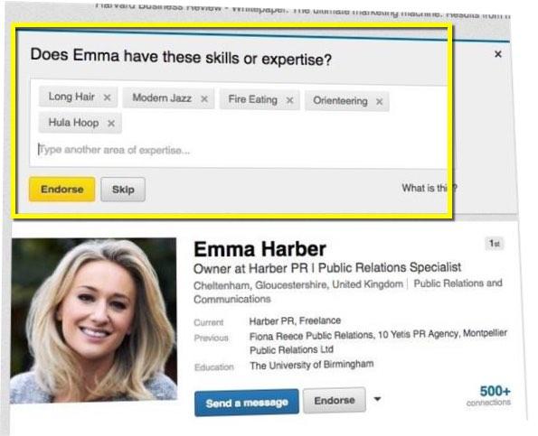 LinkedIn endorsements - parody